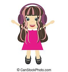 nice little girl with headphones