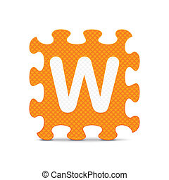 Vector letter W - Letter W written with alphabet puzzle -...