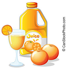 Orange juice - Illustration of an orange juice on a white...