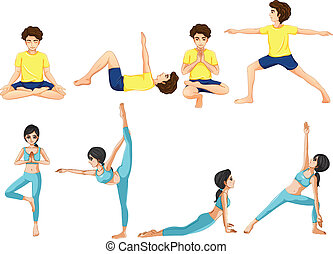 Different yoga poses - Illustration of the different yoga...