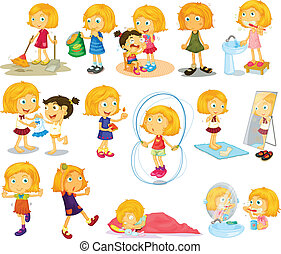A young blondies daily activities - Illustration of a young...