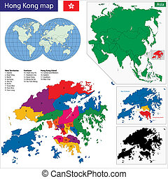 Hong Kong map - Vector map of the Hong Kong Special...