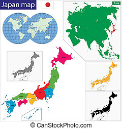 Japan map - Color map of the provinces of Japan