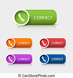 Colored rectangular web buttons contact vector eps 10