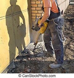 construção, local, trabalhador, jackhammer,...