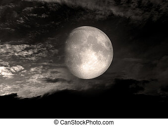 moon in the night sky - The moon in the night sky Elements...