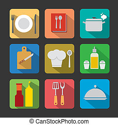 cooking icon set flat