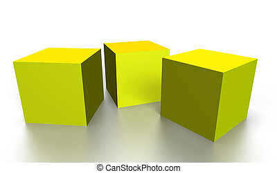 gold 3D cubes - three gold 3D cubes isolated on white