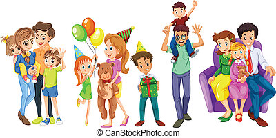 Happy families - Illustration of the happy families on a...