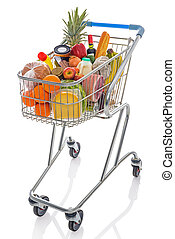 Shopping trolley isolated on white - Shopping trolley full...