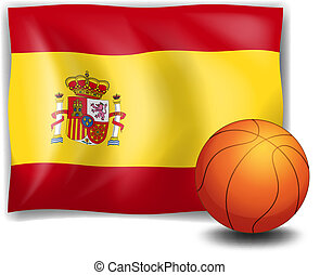The flag of Spain and an orange ball