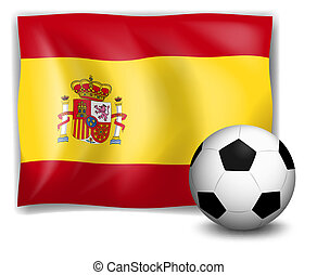 The flag of Spain and the soccer ball
