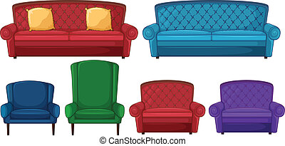 A collection of different chairs - Illustration of a...