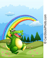 A crocodile walking and a rainbow in the sky