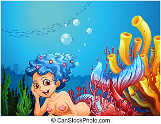 A mermaid near the coral reefs - Illustration of a mermaid...
