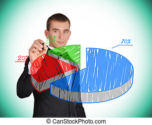 drawing pie chart - businessman with pen in hand drawing pie...
