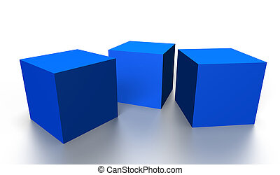 blue 3D cubes - three blue 3D cubes isolated on white