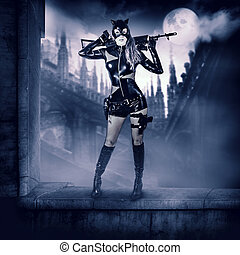 Military sexy woman in latex cat suit - Fantasy. Military...