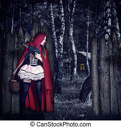 Girl Red Riding Hood with automatic - Little Girl Red Riding...