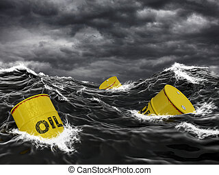 Oil barrels in the sea - Very high resolution 3D rendering...