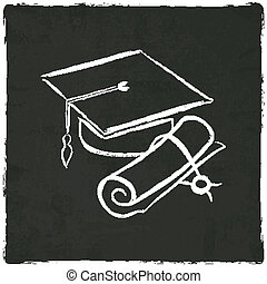 Graduation cap and diploma on old background - vector...