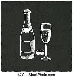 champagne on black old background - vector illustration
