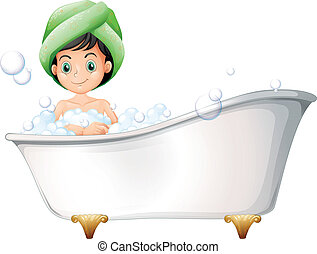 A young lady taking a bath