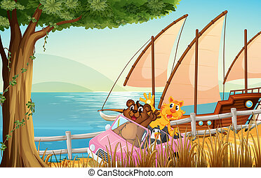 A pink car with animals travelling near the sea