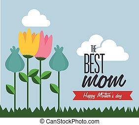 Mothers day design over landscape background, vector...