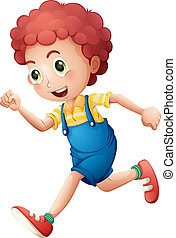 A curly young boy running - Illustration of a curly young...