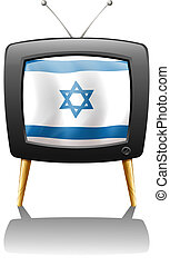 A TV with the flag of Israel - Illustration of a TV with the...