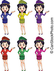 An air hostess with different uniforms