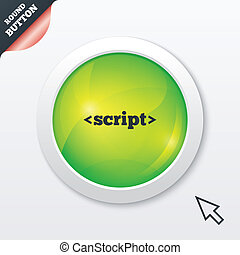Script sign icon. Javascript code symbol. Green shiny...