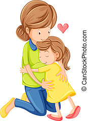 A love of a mother and a daughter - Illustration of a love...