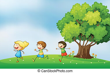 Three energetic kids playing at the hilltop with a big tree...