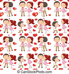 A seamless design of lovers - Illustration of a seamless...
