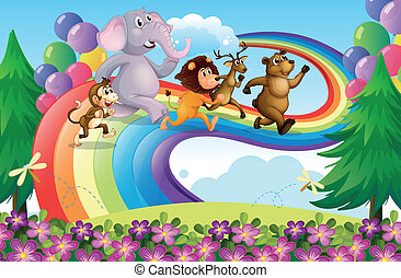 A group of animals at the rainbow - Illustration of a group...