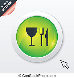 Eat sign icon Knife, fork and wineglass - Eat sign icon...