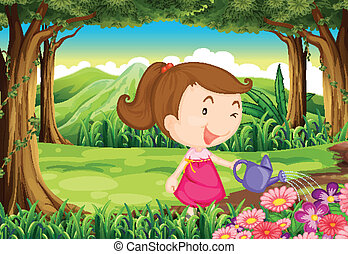 A young lady watering the plants in the forest