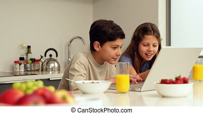 Cute siblings using laptop at breakfast at home in the...