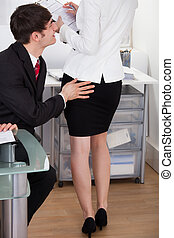 Pervert Businessman Touching Female Colleagues Buttock -...