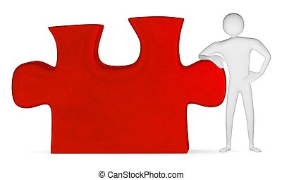 3d man leaning on red puzzle - 3d man leaning on red...