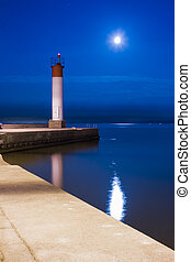 Lighthouse Under the Moon Light