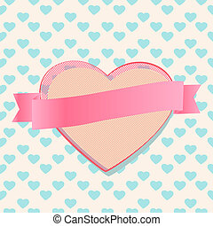 Valentines heart with a blank ribbon banner