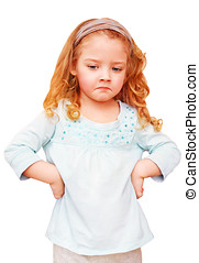 Unhappy little girl on a white background - Unhappy little...
