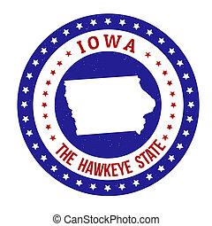 Iowa stamp - Vintage stamp with text The Hawkeye State...