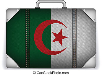 Algeria Travel Luggage with Flag for Vacation - Vector -...