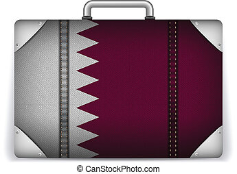 Qatar Travel Luggage with Flag for Vacation - Vector - Qatar...