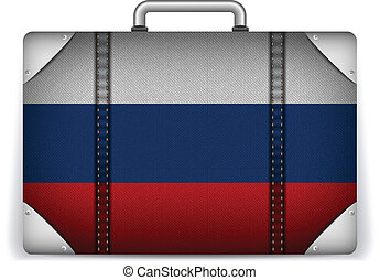 Russia Travel Luggage with Flag for Vacation - Vector -...