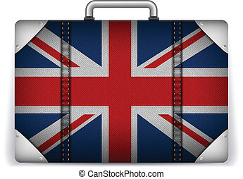 UK Travel Luggage with Flag for Vacation - Vector - UK...